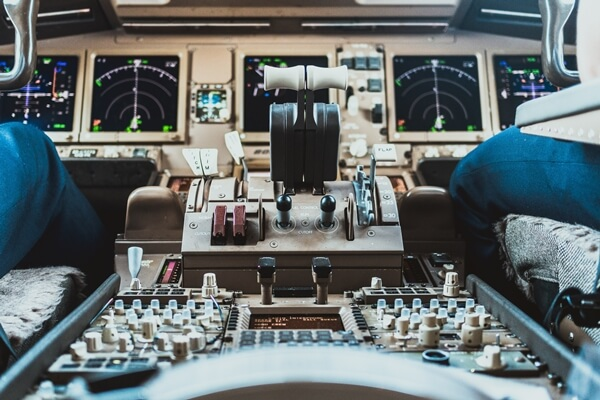 Autothrottle inside a Boeing 777