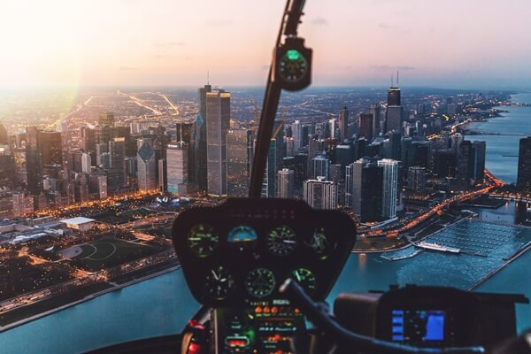 An ultralight soaring above Chicago