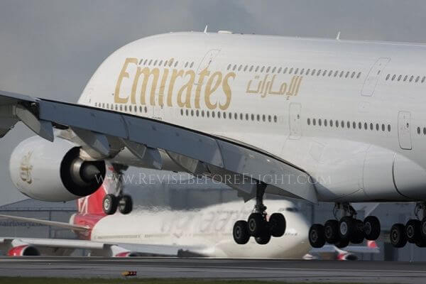 An Emirates A380 at Manchester airport